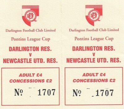 Ticket - Darlington Reserves v Newcastle United Reserves (Undated)