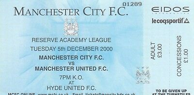 Ticket - Manchester City Reserves v Manchester United Reserves 05.12.00