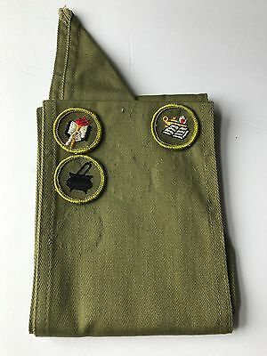 "Boy Scout's of America Vintage Merit Badge 30"" Olive Green Sash with 3 Badges"