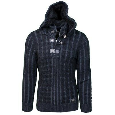 LCR  Men's Cable Knit Hooded Turtleneck Wool Blend Slim Casual Sweater Black