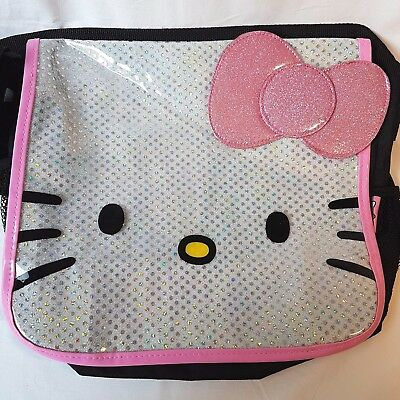 Hello Kitty Crossbody Shoulder Messenger Bag Black Pink Sparkle Bow  2012