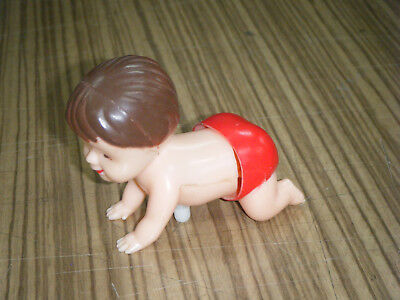Vintage c1970s Wind-Up Crawling Baby Toy