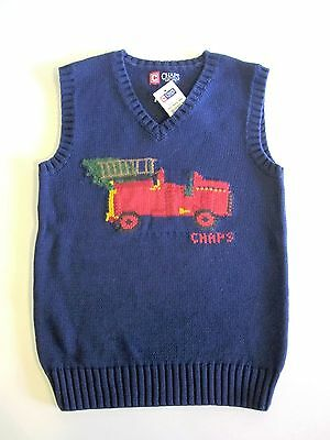 NEW Chaps Size 5 Sweater Vest Navy Blue Fire Engine