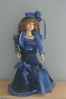 """Beautiful Porcelain Doll w. Red Hair and Blue Eyes - 17"""" w. Stand"""