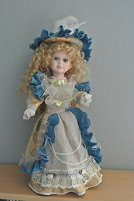 """Beautiful Porcelain Doll w. Blonde Hair and Blue Eyes - 16"""" w. Stand"""