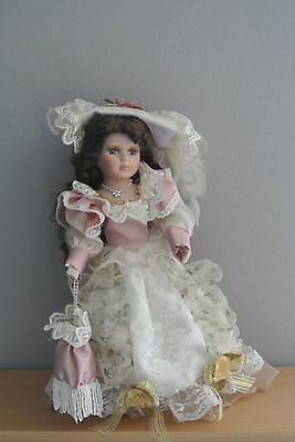 """Beautiful Porcelain Doll w. Brown Hair and Blue Eyes - 16"""" w. Stand"""