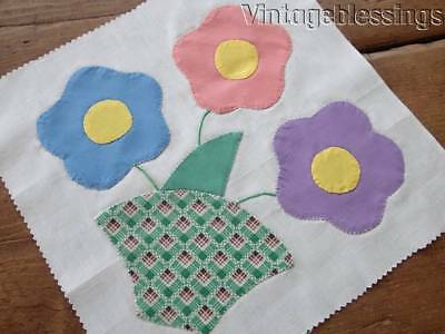 "4 Vintage Posies in a Basket QUILT Blocks Sold in Sets 11"" x 11"""