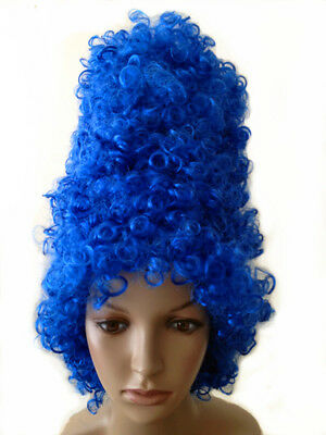 Halloween Cartoon Blue Marge Simpson Beehive Curly wig Fancy Dress Costume