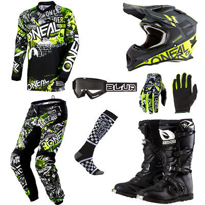 ONeal Element Attack motocross gear set - Jersey Pants Gloves Socks Helmet Boots