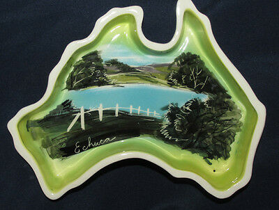 ECHUCA Water View Studio Anna Map of Australia Pottery DISH BOWL Souvenir 16CmW