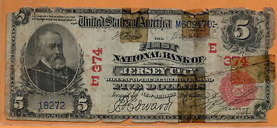 1902 $5 Bank Note Charter E374 - First National Bank of Jersey City Red Seal