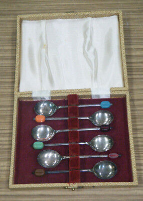 Vintage Boxed Coffee Bean Spoon Silverplate Set