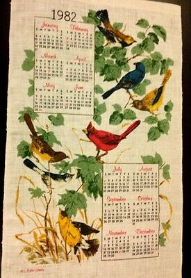 Lovely Old Vintage Tea Towel -Calendar Burds Pattern All Pure Linen Never Used