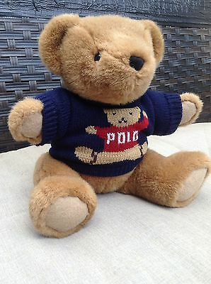 "Polo Ralph Lauren 1997 Plush Jointed Teddy 16"" EUC Navy Sweater"
