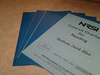 NRSI Colored Overlays for Reading  set of 4   Medium Dark Blue New