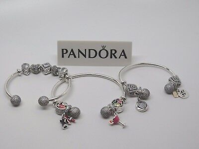 New Pandora Adjustable Open Bangle CZ Bracelet Silicone Grips 596438CZ Box Avail