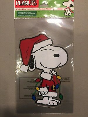 "Peanuts Christmas Jelz Window Clings - Snoopy 7"" Tall  NEW"