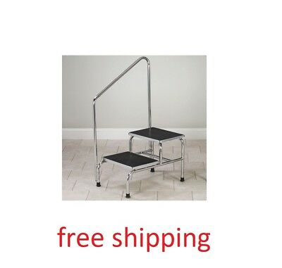 Clinton Two-Step Bariatric Step Stool with Handrail Chrome 350Lb Weight Capacity