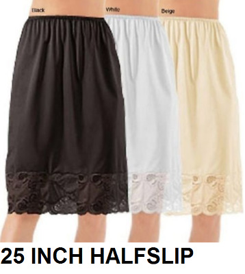 """Half Slip 25"""" INCH All Around Lace 100% NYLON  S-6X  PLUS SIZE AVAILABLE"""