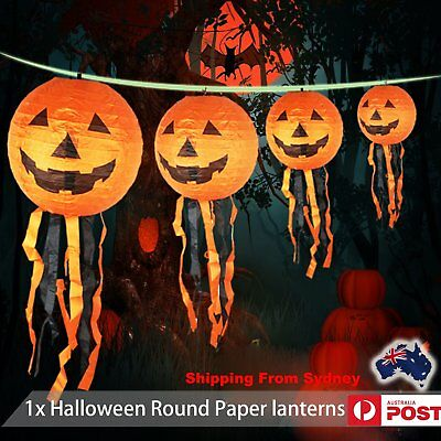 20cm Halloween Round Paper lanterns LED Pumpkin Hanging Light Lamp Party Banquet