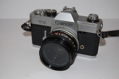 Canon TX 35mm SLR Camera & Canon FD 50mm 1:1.8 s.c. Lens with Filter