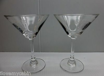 Set of 2 Beefeater London Gin Martini Cocktail Glasses Glass Etched Logo Pair