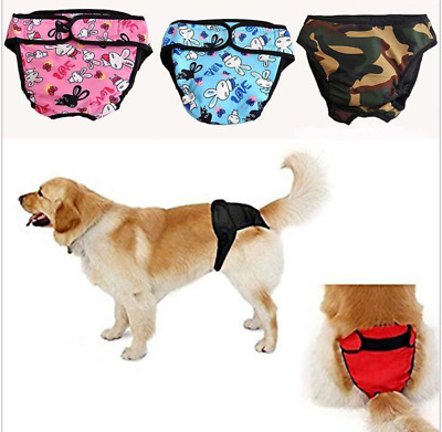 Washable Dog Diaper Female Pet Pant Reusable Puppy Camo Red Black Doggie Diapers