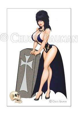 Fridge Magnet Elvira Gravedigger bomber girl macabre horror pin-up girl art