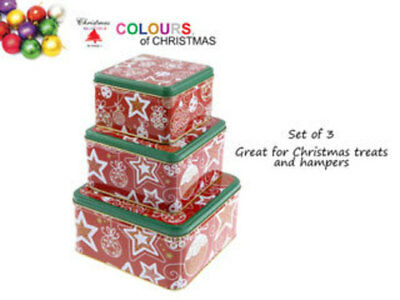 12 x christmas cookie tins set of 3 square printed design bulk wholesale lot