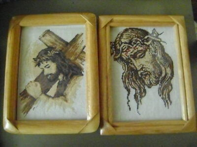 Jesus two tapestries with frames -  handmade completed gobelins needlepoint
