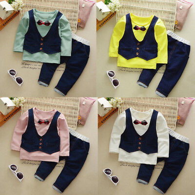 2PCS Toddler Kids Baby Boy Shirt Tops+Long Pants Gentleman Party Outfits Clothes