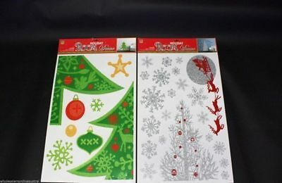 christmas wall decals large 50cm x 70cm  xmas tree in green or silver