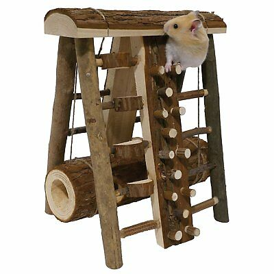 Hamster Toy Small Animal Safety Wood Playground Exercise Activity Centre Pet