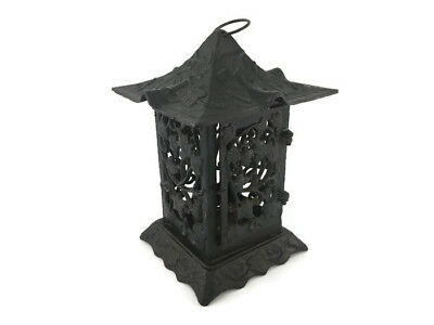 Cast Iron Japanese Inspired Garden Lantern Light Lamp Leaf Vine Design Decor