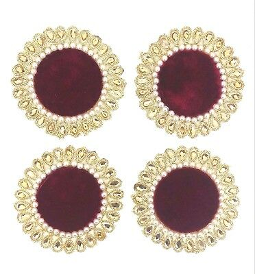 Indian Red Velvet  Appliques Sewing Craft Fashion Accessories Motifs DIY 4pc
