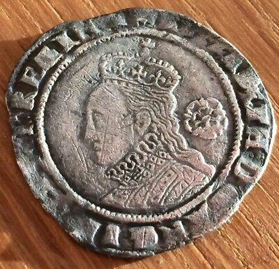 Six Pence ELIZABETH HAMMERED coin - 1574 High Grade Rare