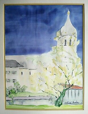 "ANDRE BRASILIER ?? -- watercolor /acuarela  -- "" Vue de village """