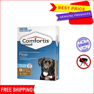 COMFORTIS Flea treatment for Dogs 27.1 to 54 Kg 6 Chews BROWN Pack by Elanco