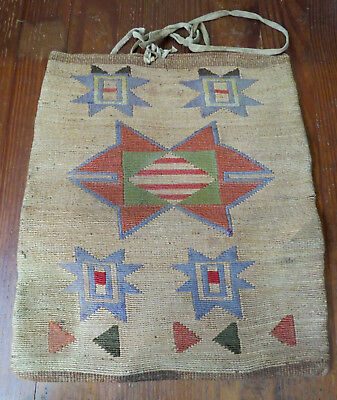 Antique Native American Corn Husk Flat Bag Plateau Nez Perce C 1880