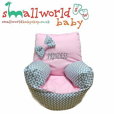 Personalised Girls Grey ZigZag And Pink Toddler Bean Bag Chair NEXT DAY DISPATCH