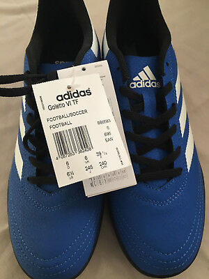 Adidas Goletto Astro Artificial Grass Trainers Juniors Blue/White Soccer Shoes