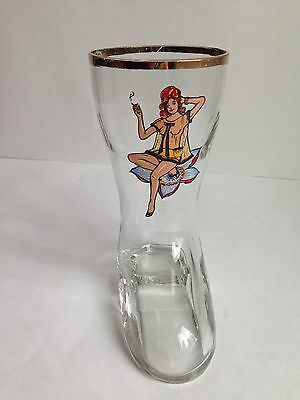 Vintage German Boot Beer Glass Funny Nude Lady CUTIE 0.25L