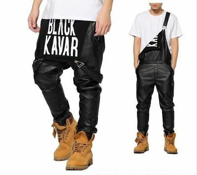 New Arrival Fashion Unisex Swag Black Leather Overalls RLW1208