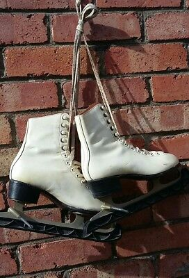 Vintage FAGAN Leather Sz 4  1/2 Ice Skates Boots  Great Props? .CZECHOSLOVAKIA