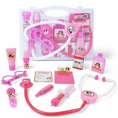 Pretend Play Doctor/Nurse Kit Kid Children Adult Role Play Real Stethoscope Pink