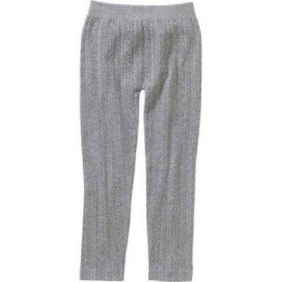Faded Glory Girls' Essential Fleece-Lined Cable Knit Textured Leggings
