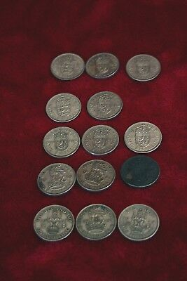 Lot of 12 British ONE SHILLING COIN George VI - Elizabeth II