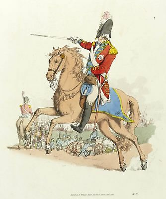 UNIFORMEN - ENGLAND - GENERAL OFFICER ON HORSEBACK - Pyne - kol. Aquatinta 1805