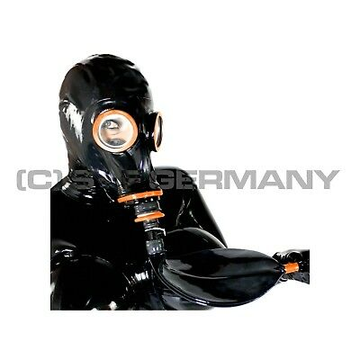 Gas Mask Latex Hood Rebreathing Bag System F. Fetish Catsuit Corset Sale Offer!