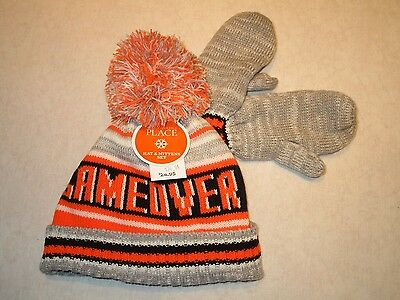 Boys Winter hat & mittens, size 6-12 months  Childrens Place   GAME OVER